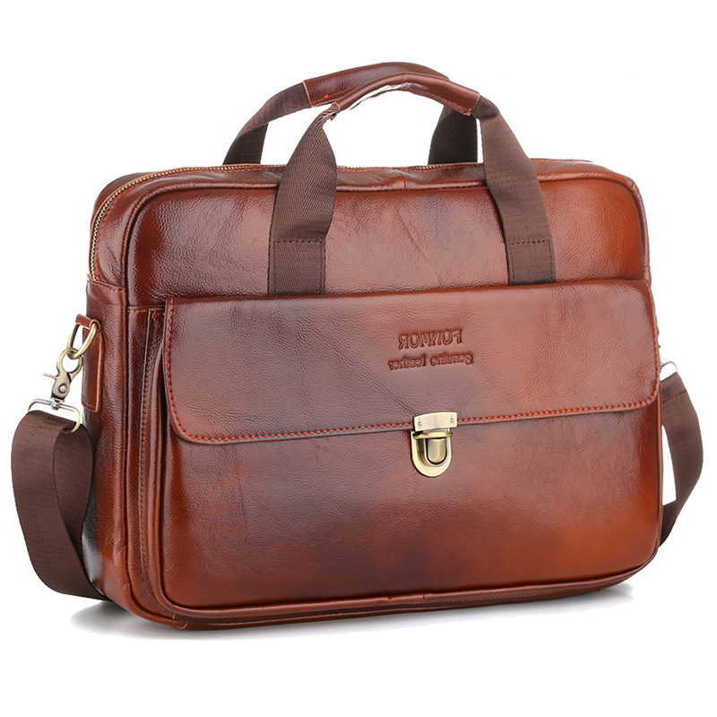 Cowhide Leather Business Bag Handbag Men Genuine Leather Bag Laptop Messenger Bags High Quality 14 Inch Luxury Men's Briefcases