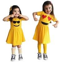 Baby Girl Dress Emoji Kids Dresses For Girls New Summer Children Clothing Cartoon Casual Dresses Yellow