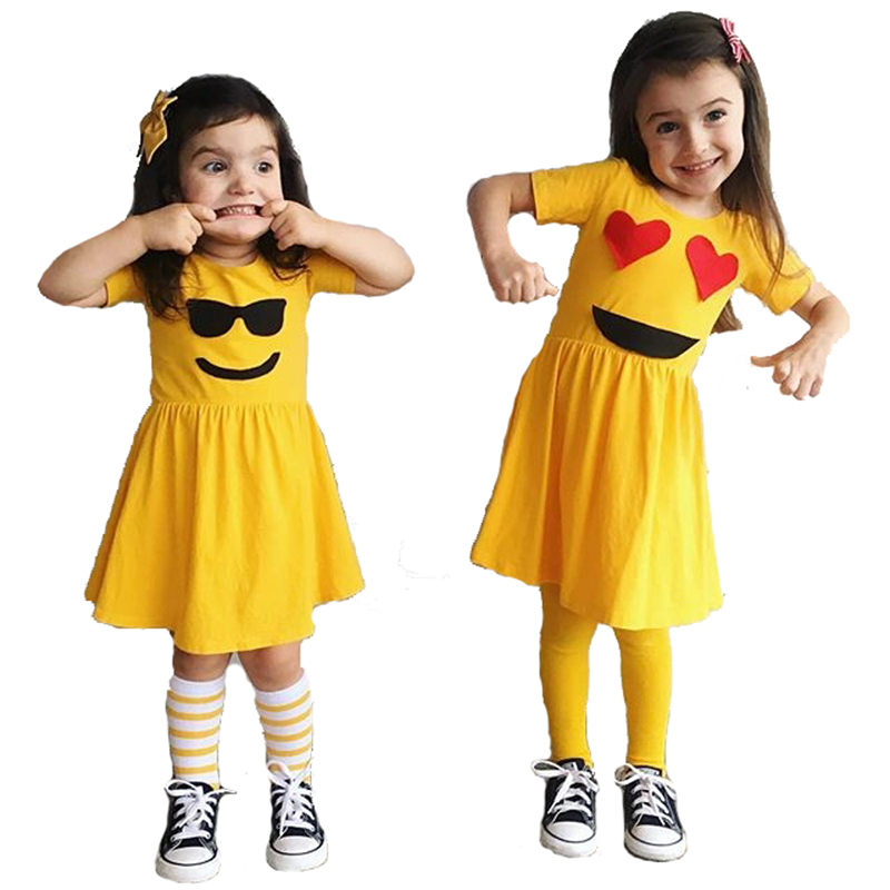 Baby Girl Dress Emoji Kids Dresses For Girls New Summer Children Clothing Cartoon -1076