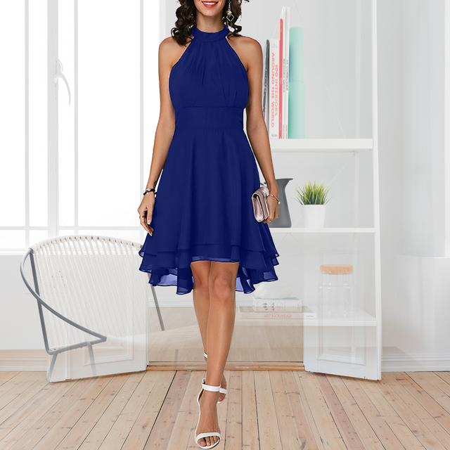 Plus Size Summer Dress 2019 Sexy High Waist Solid Color Cropped Layered Halter Sleeveless Chiffon Party Casual Slim Dress 5