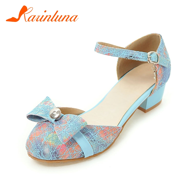 KARINLUNA Women's Sweet Bowtie Summer Shoes Woman Mary Jane Style Chunky Heel Casual Dress Sandals Extra Size 28-52