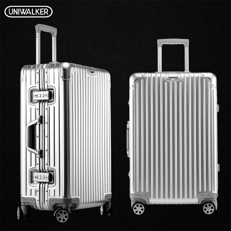 UNIWAlKER 100% Alumnium Rolling Luggage Lightweight Hardside Travel Trolley Suitcase with Aircraft Spinner Wheels Alumninum Rod new space alumnium