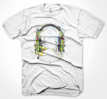 Mens Funny Tshirts Music Animated Headphones White T-Shirt Various Sizes New T Shirts Tops Tee Unisex