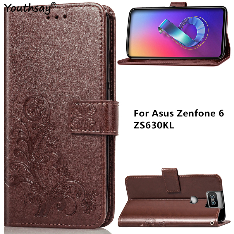 For Cover Asus Zenfone 6 ZS630KL Case Luxury PU Leather Flip Wallet