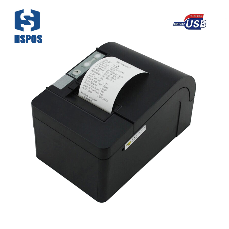 Windows10 USB thermal receipt printer pos 58mm with cutter printing machine high speed big gear wheel bill printer HS-T58KUC usb interface 58mm pos receipt printer thermal printing with power supply built in free shipping