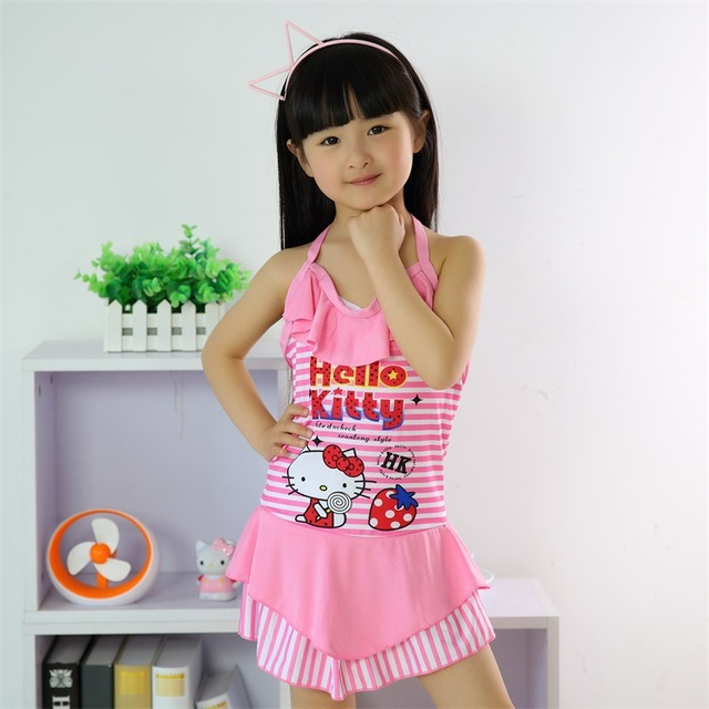 1Pcs Free Shipping Hello Kitty Baby Girls Bathing Suit Children Swimmer Suit 7 8 9 10 -6481