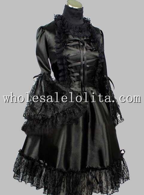 Готическое черное кружевное шелковое платье в викторианском стиле длиной до колена