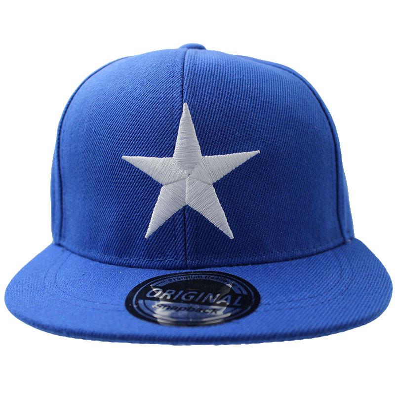Embroidered Star Children's Snapback Cap - Blue