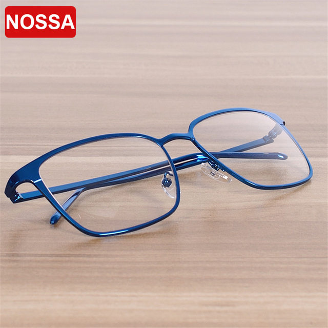 8123d9b338 NOSSA Brand Big Square Glasses Frame Myopia Glasses Frames Men Women s  Eyeglasses Fashion Vintage Metal Spectacle Frame