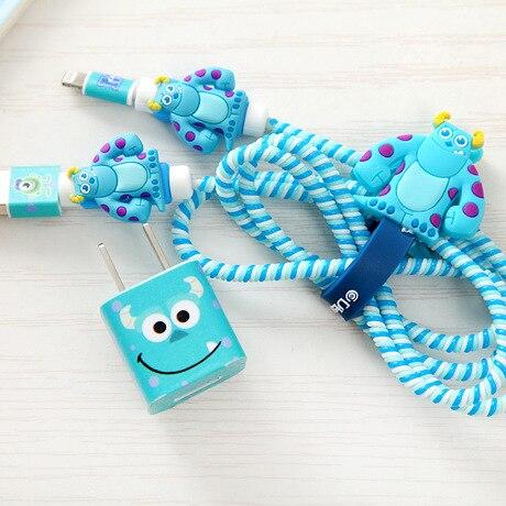 Gute Geschenke Schöne Cartoon USB Kabel Kopfhörer Schutz Set mit Kabel Wickler aufkleber Spirale Kabel protector Für iphone 5 6 6s 7