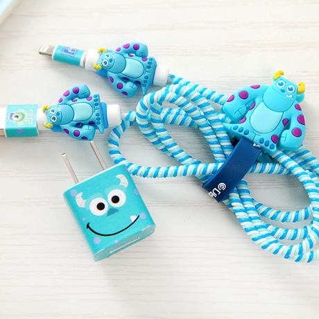 Good Gifts Lovely Cartoon USB Cable Earphone Protector Set With Cable Winder Stickers Spiral Cord Protector For Iphone 5 6 6s 7