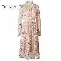 Truevoker מעצב אביב הנשים נובל צווארון קשת שרוול ארוך פאייטים מפוארים חמוד ורוד תחרת אמצע שוק שמלת אורך