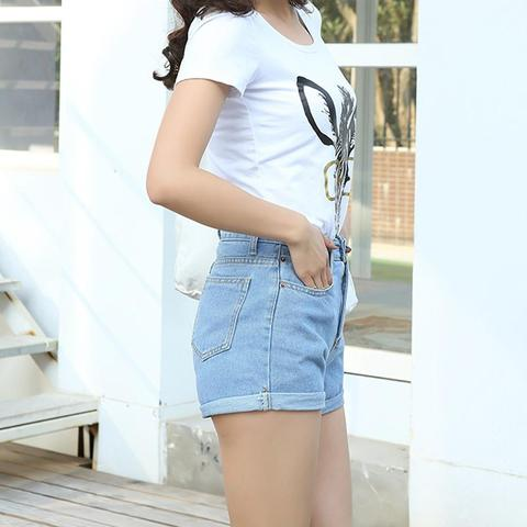 High Waist Denim Shorts Size XL Female Short Jeans for Women 2016 Summer Ladies Hot Shorts solid crimping denim shorts Karachi
