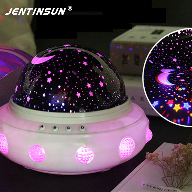 Romantic Rotate UFO Night Light LED USB Music Lamp Starry Star Projection Night Lights Battery Table Lamps for Baby Kid Sleeping led night light ocean wave projector starry sky aurora star light lamp luminaria baby nightlight gift battery powered led lights