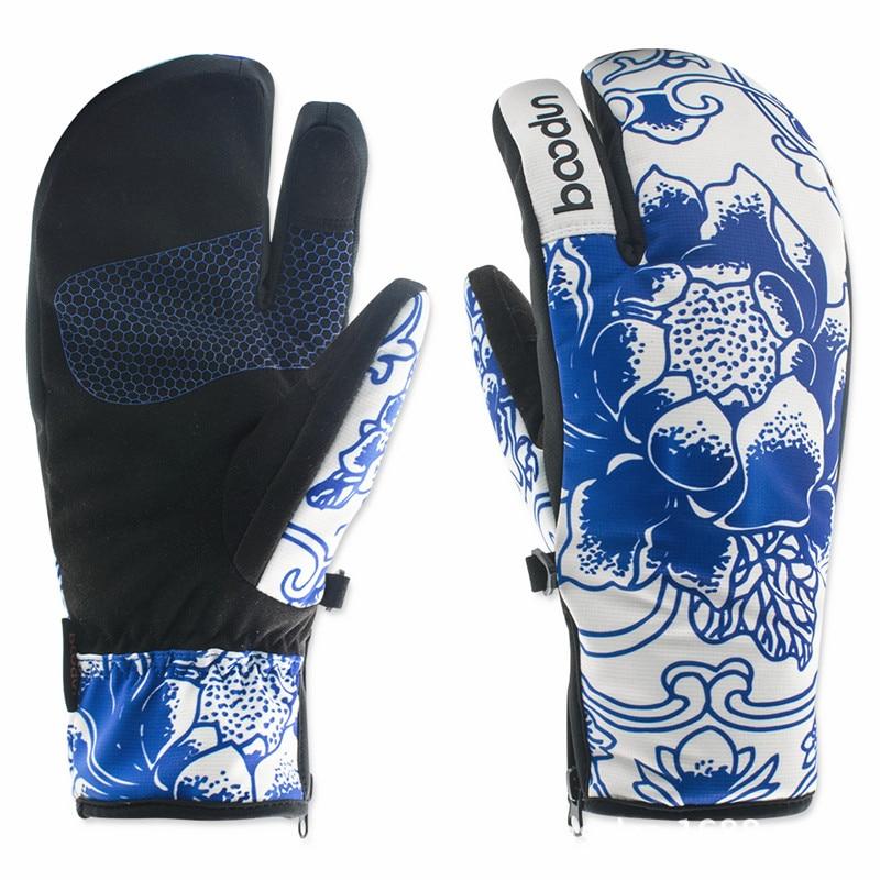 Зимние женские лыжные перчатки BOODUN, перчатки для катания на лыжах и сноуборде, водонепроницаемые перчатки с фарфоровым рисунком для катани...