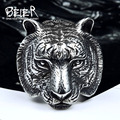 Beier nova loja anel aço inoxidável 316l top quality cabeça do tigre dominador anel animal para o homem do motociclista jóias br8-161