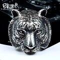 Beier nueva tienda de anillo de acero inoxidable 316l de calidad superior domineering tigre cabeza de animal anillo para hombre joyería del motorista br8-161