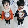 2017 de Inverno Crianças Outono Outerwear Camisola de Manga Comprida O-pescoço Camisola Borla Leão Dos Desenhos Animados Do Bebê Crianças Pullover Camisola