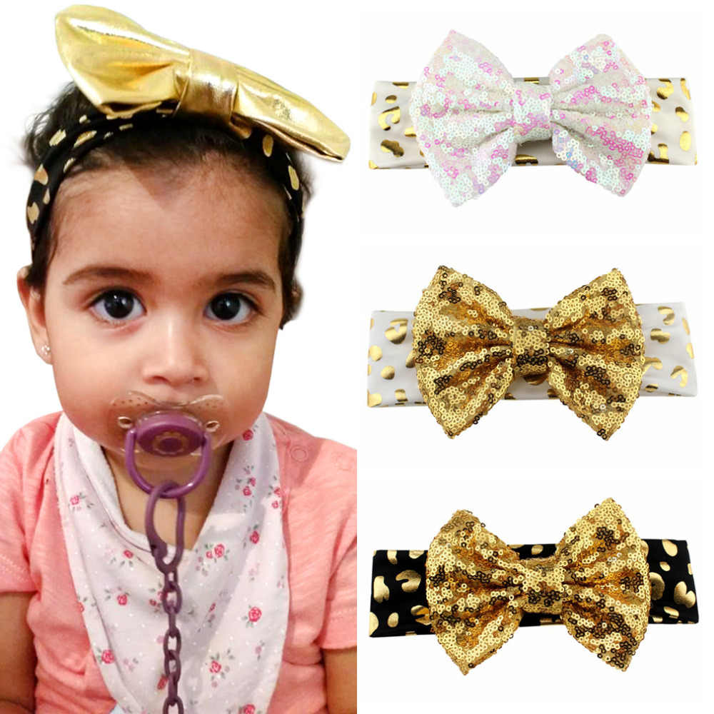 c8643cbb2aee 1PC Gold Sequin Bow Headband For Girls 2019 Glitter Leopard Elastic Hair  Bands Kids Big Sequin