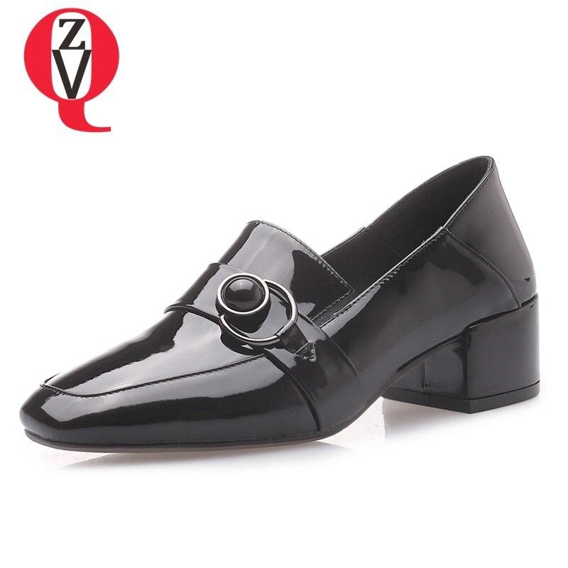 Carré Zvq Décoration Femmes Colour Black Pompes Métal Printemps Cuir Des caramel En Nouvelle À L'extérieur Grande Taille Mode Sexy Verni Chaussures sur Bout Slip 7rvxqw57