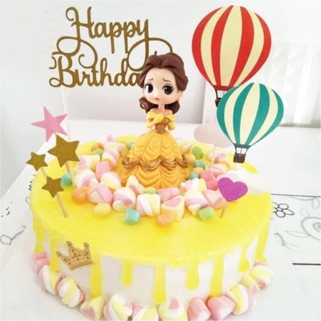 Glitter Gold Happy Birthday Cake Topper Wedding Party Flag Decoration Kids Stand