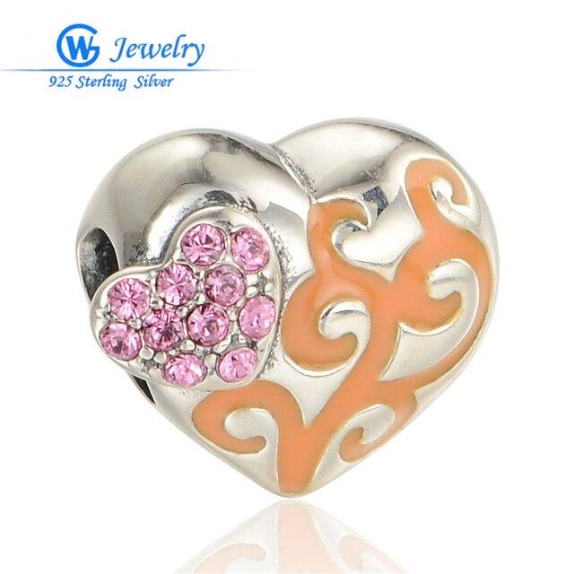 Heart Crystal 925 Sterling Silver European Charms Enamel Beads Fits Bracelets GW Fine Jewelry D110H20