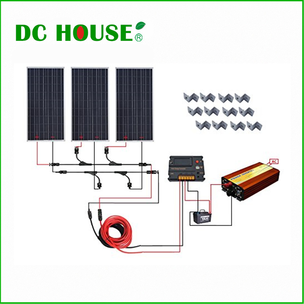 DC HOUSE USA UK Stock 300W Off Grid Solar System Kits: New 100W Solar Module 12V Home 20A Controller 1000W Inverter solarparts off grid solar system kits 800w flexible solar panel 1pcs 60a controller 2kw inverter 2 sets 4 in1 mc4 adaptor cable