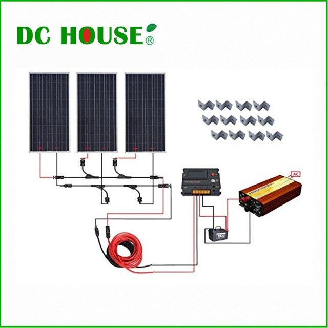 DC HOUSE USA UK Stock 300W Off Grid Solar System Kits New 100W