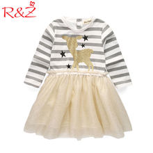 R&Z 2017 New Autunm Girls Causal Dress Children's Deer Star Striped Full-sleeved Dresses Kids Print Voile Clothes k1(China)
