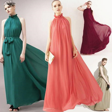 DoreenBow Chiffon Bohe Style Dress Summer Halter Sleeveless Women Evening Party Fashion Dress Pink Red Black Colors, 1 Piece