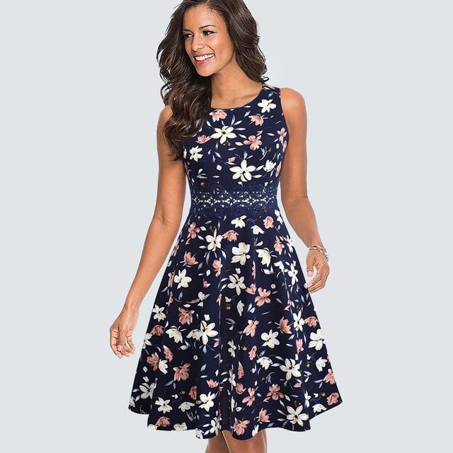 Women Neck A-line Dress Summer Elegant Flower Lace Patchwork Sleeveless Tunic Party Swing Dress