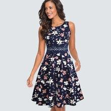 Frauen Vintage Casual Rundhals A linie Sommer Elegante Blume Spitze Patchwork Ärmellose Tunika Party Schaukel Kleid HA079