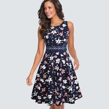 Kobiety w stylu Vintage Casual wokół szyi linia lato elegancki kwiat koronki Patchwork tunika bez rękawów imprezowa sukienka w stylu Swing HA079
