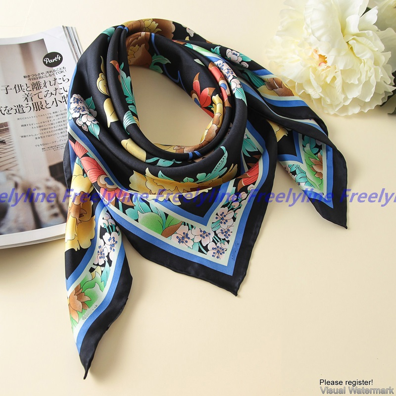 Floral Print 100% Silk Twill   Scarf   Bandana Hijab Women Fashion Square Silk   Scarves   Shawl   Wraps   Top Grade Hand Rolled Edge 90cm