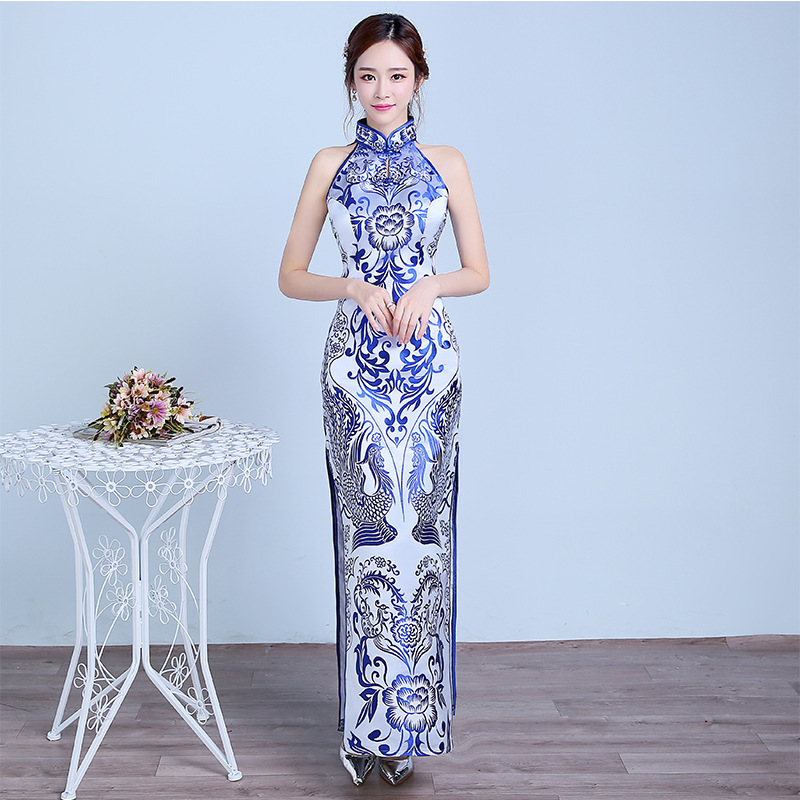 Blue White Cheongsam Sexy Qipao Long Traditional Chinese Dresses Eveing Dress Style Chinois Femme Robe Longue