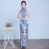 Blue White Cheongsam Sexy Qipao Long Traditional Chinese Dresses Eveing Dress Style Chinois Femme Robe Longue Chinoise