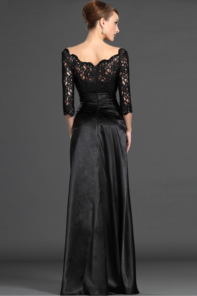 Hot Sale Elegant Lace robe de soiree Black Evening Prom Gown Three Quarter Taffeta Boat Neck 2018 Mother of the Bride Dresses in Mother of the Bride Dresses from Weddings Events