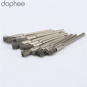 Image 5 - Dophee 10Pcs נירוסטה חוט פלדה עיפרון מברשות גלגל Mandrel סט Dremel אבזר עבור רוטרי כלים 3.17mm עיפרון מברשות