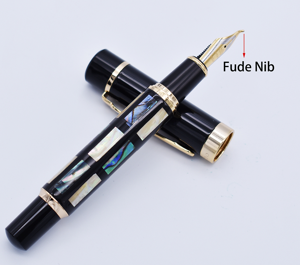 Jinhao Calligraphy Fountain Pen Bent Nib Bright Pearl Green Sea Shell Fude Big Size Writing Gift Pen for Office School in Fountain Pens from Office School Supplies