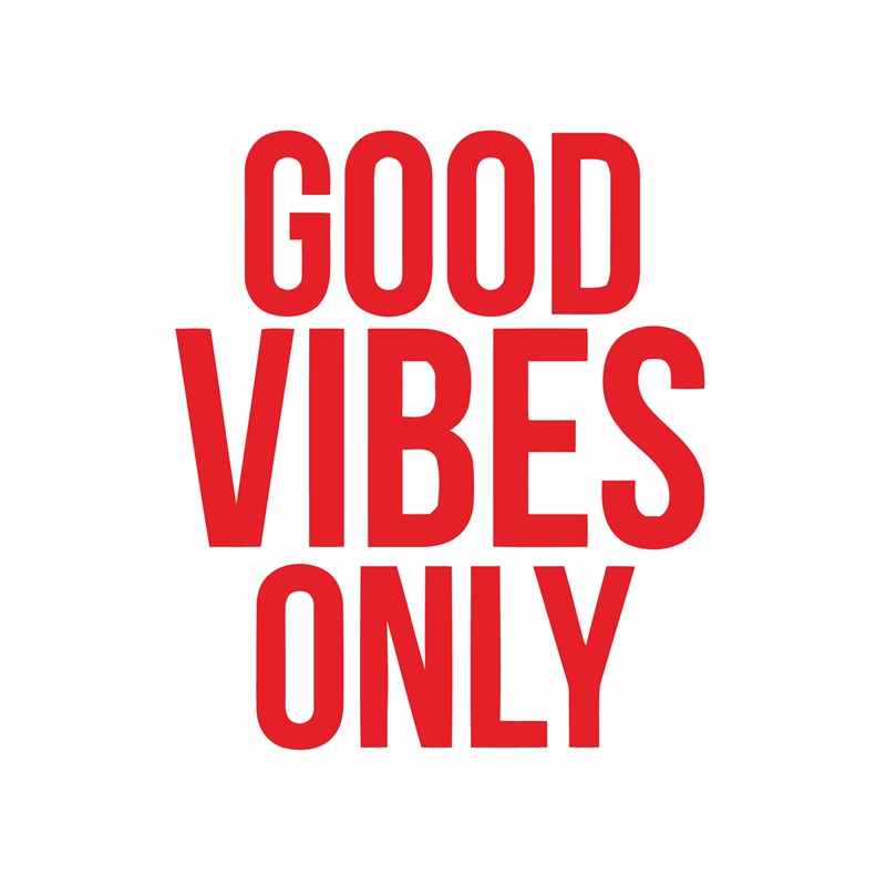 GOOD VIBES  Window Decal Sticker 8 in x 4 in  Color shown SHIPS WHITE