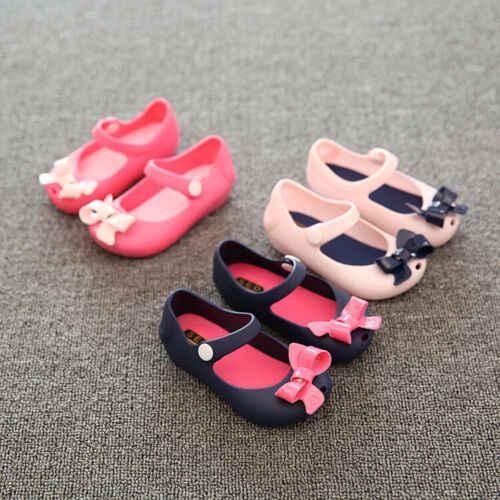 2019 תינוק קיץ נעלי ילדי תינוקות תינוק בנות ילדי נסיכת סנדלי נעלי החלקה פלסטיק קשת אבזם נעלי גומי 1-6Y
