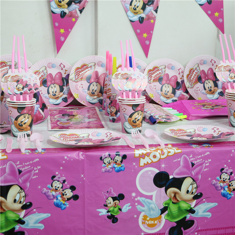 lot of 132pcs minnie mouse birthday disposable party set kids