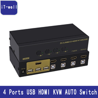 IT Well USB HDMI KVM Switch 4 Porte PC Monitor Tastiera Mouse Switcher Supporto Hotkey Mouse