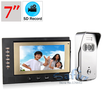 auto record video door phone 7inch video record monitor 700tvl color camera doorphone intercom system two way talk door bell