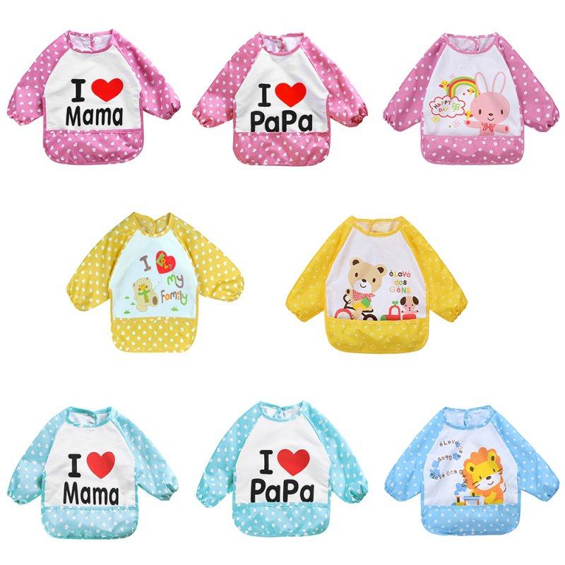 Leuke kinderen Bib Cartoon afgedrukt lange mouw Baby Bib Baby waterdichte schort kleding 8 patroon voor L07 kiezen