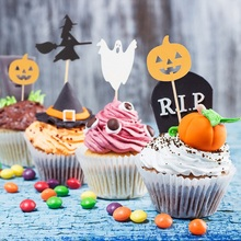 12pcs Halloween Cupcake Toppers Pumpkin Witch Ghost Picks Holiday Party Decor Cake Free Shipping
