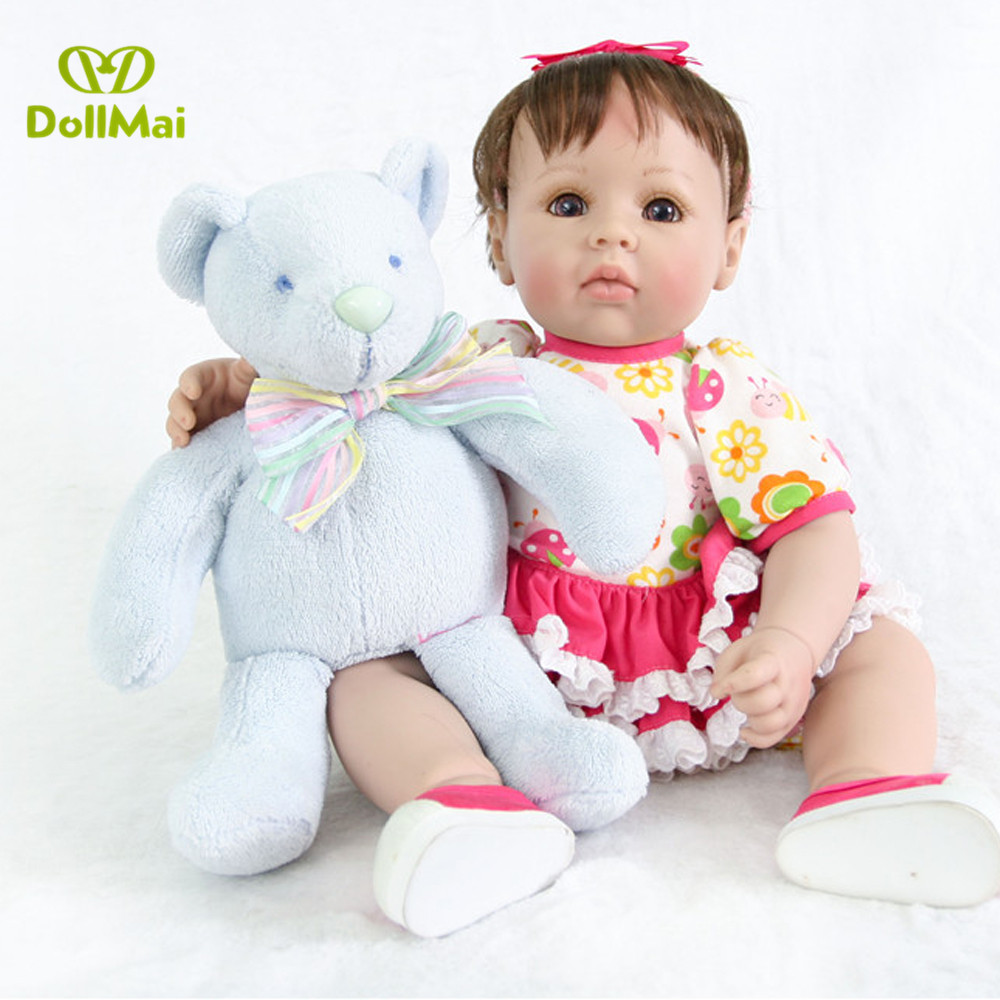 Cute reborn girl dolls 50cm vinyl silicone reborn baby dolls soft touch real bebes reborn with bear plush bonecasCute reborn girl dolls 50cm vinyl silicone reborn baby dolls soft touch real bebes reborn with bear plush bonecas