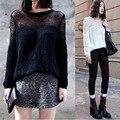 Primavera verão de malha camisola das mulheres Sexy bonito oco Out mulheres suéteres e pulôveres Crochet 2015 nova mulheres bordado Jumper