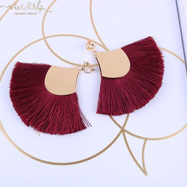 Bohemia Ethnic Alloy Big Fan Tassel Clip on Earrings Fringe Earrings Without Piercing Ear Clips For Women Vintage Jewelry