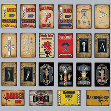 [ Kelly66 ]  Barber Shop Open Shave Trim Style Lather Metal Sign Tin Poster Home Decor Bar Wall Art Painting 20*30 CM Size Dy64